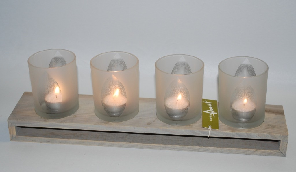 Frosted Glass TeaLight Holder - Click to enlarge picture.